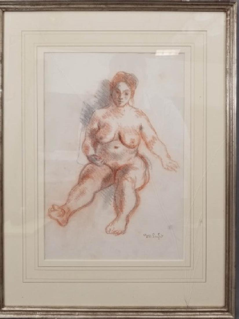 Moses Soyer Conte Crayon Sanguine Seated Nude - 7