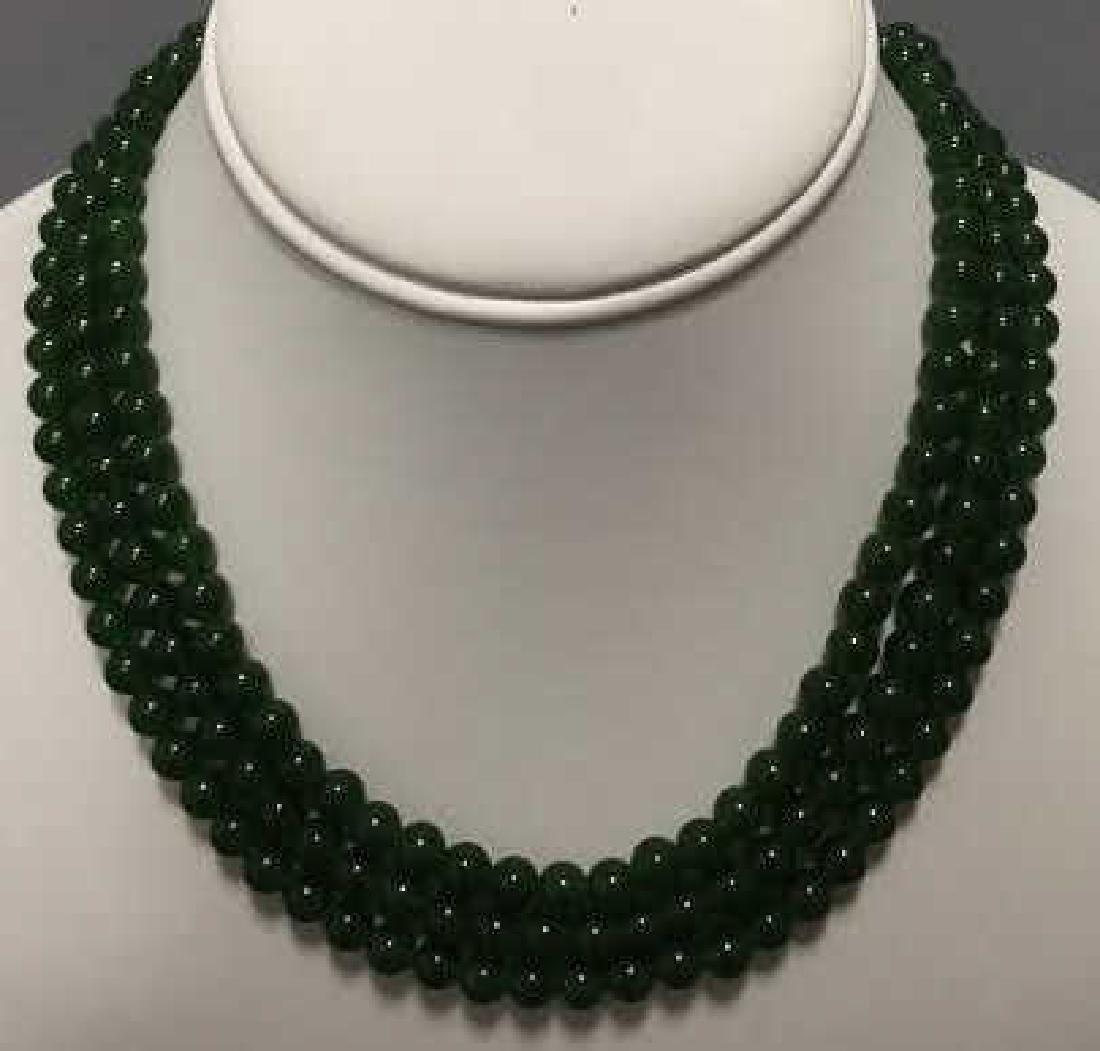 Three Chinese Green Jade Round Bead Necklaces