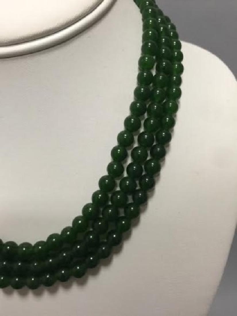 Three Chinese Green Jade Round Bead Necklaces - 3