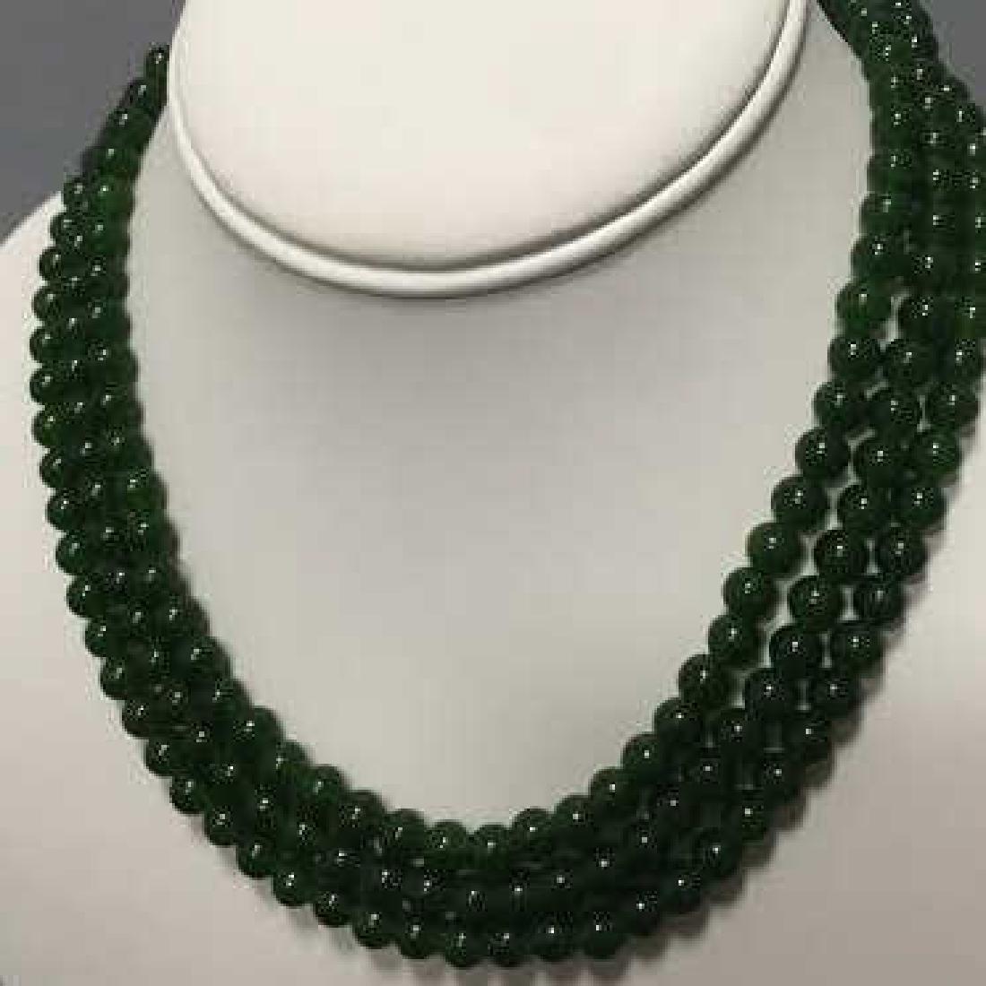 Three Chinese Green Jade Round Bead Necklaces - 4