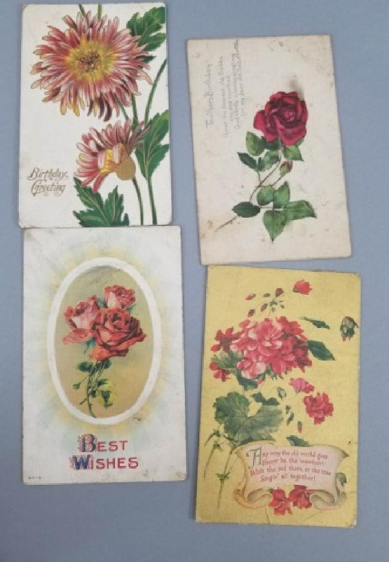 Group of 40+ Antique Floral Birthday Post Cards - 4