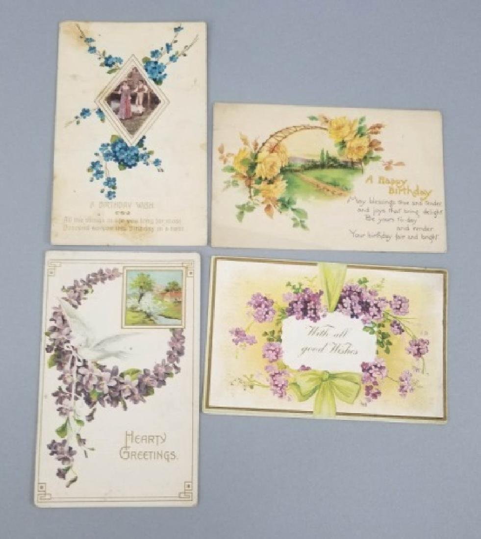 Group of 40+ Antique Floral Birthday Post Cards - 5