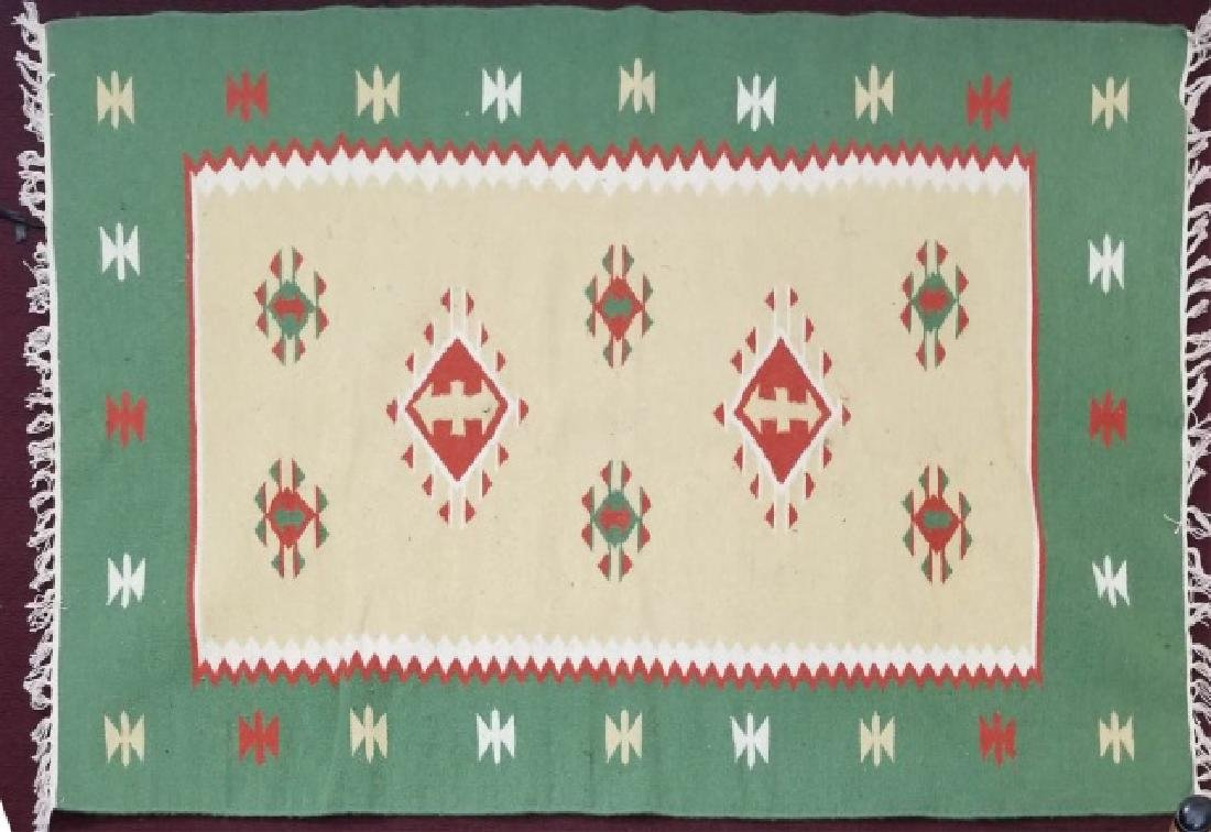 South West Style Wool Accent Rug / Carpet w Fringe