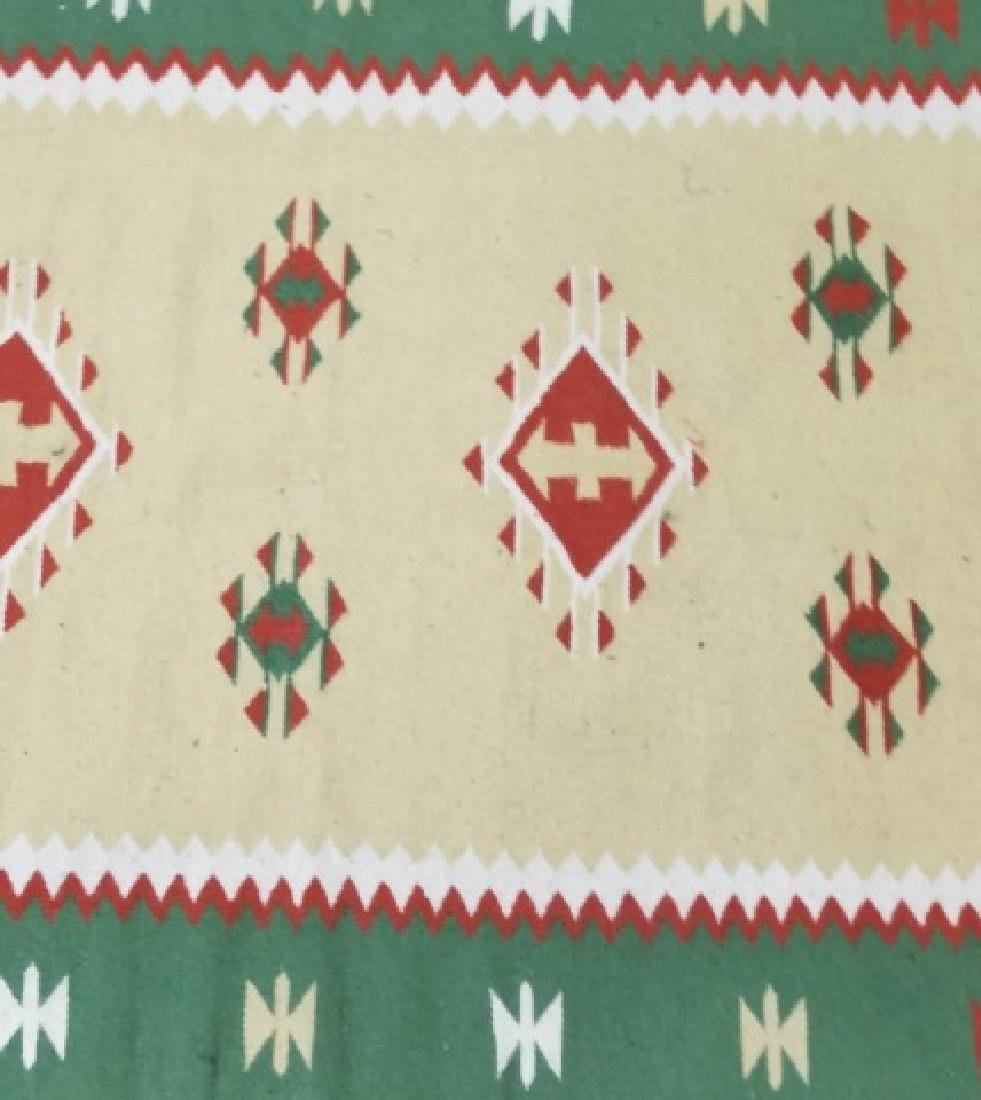 South West Style Wool Accent Rug / Carpet w Fringe - 3