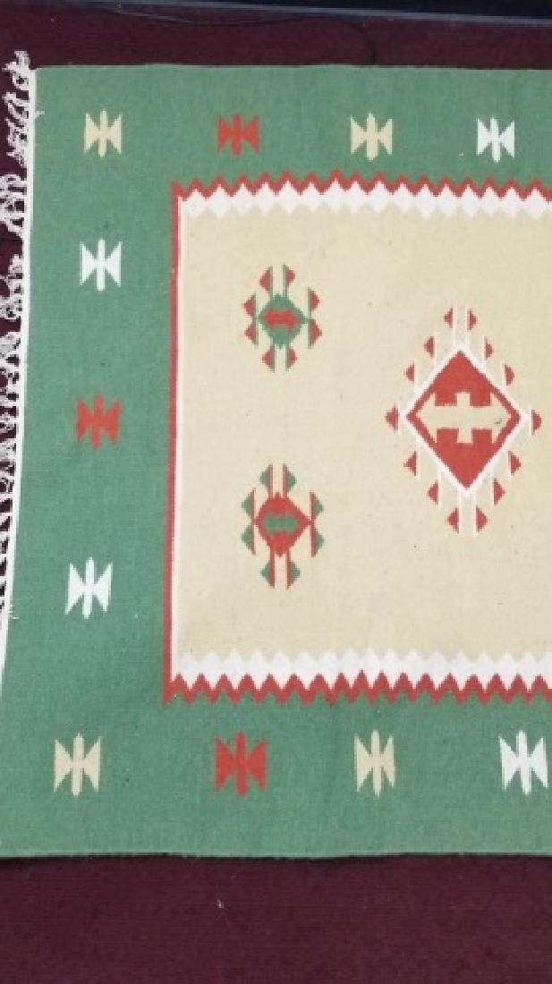 South West Style Wool Accent Rug / Carpet w Fringe - 4
