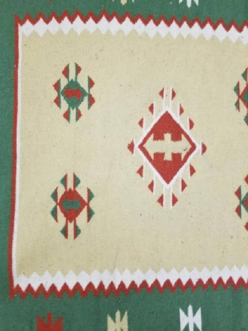 South West Style Wool Accent Rug / Carpet w Fringe - 5
