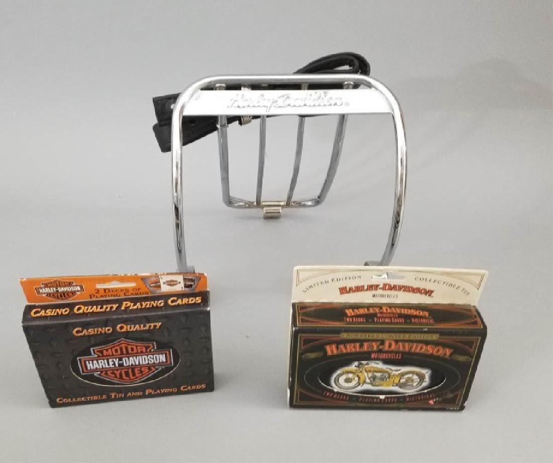 3 Vintage Harley-Davidson Items Luggage Rack Cards