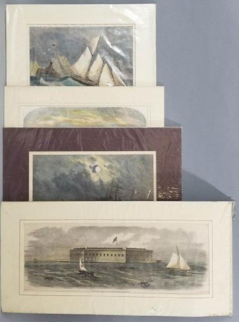 4 19thC Hand Colored Engravings - Nautical Theme