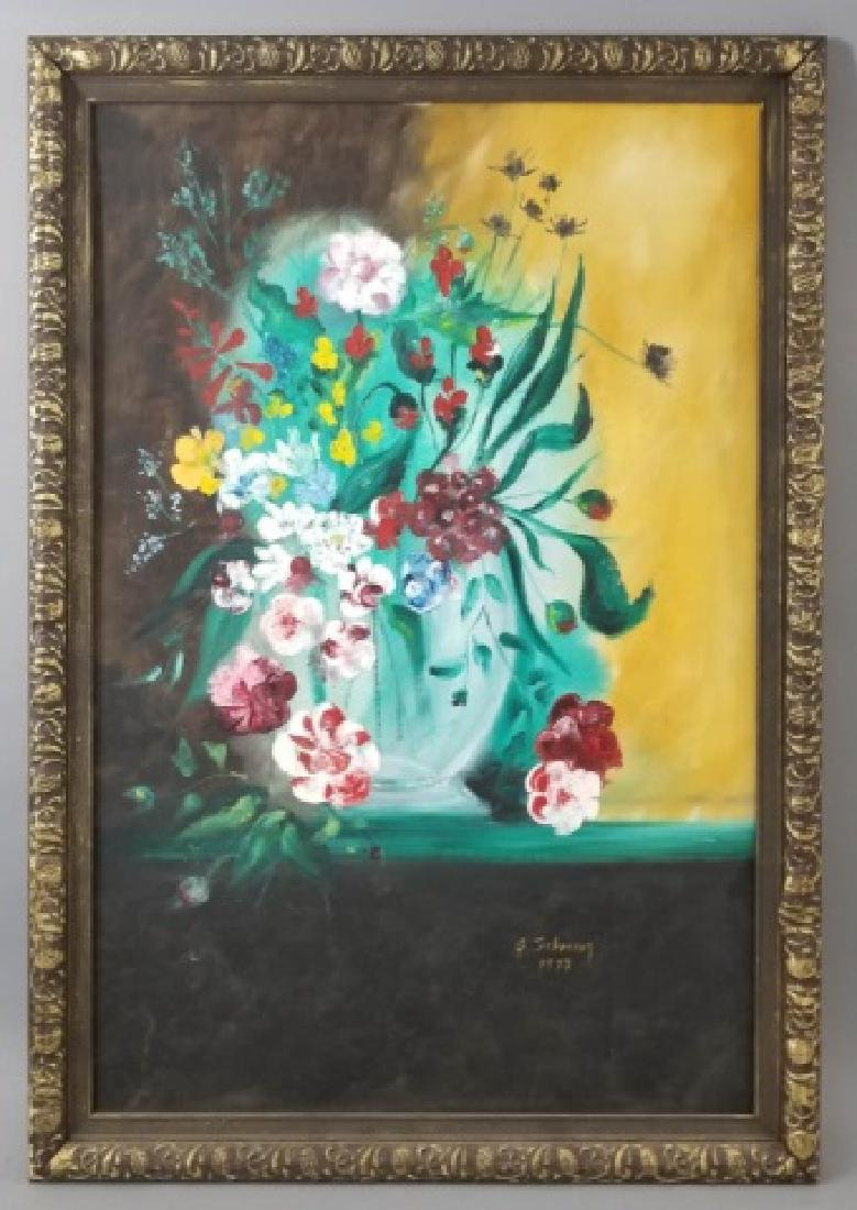 Signed Still Life of Flowers on Canvas, 1973