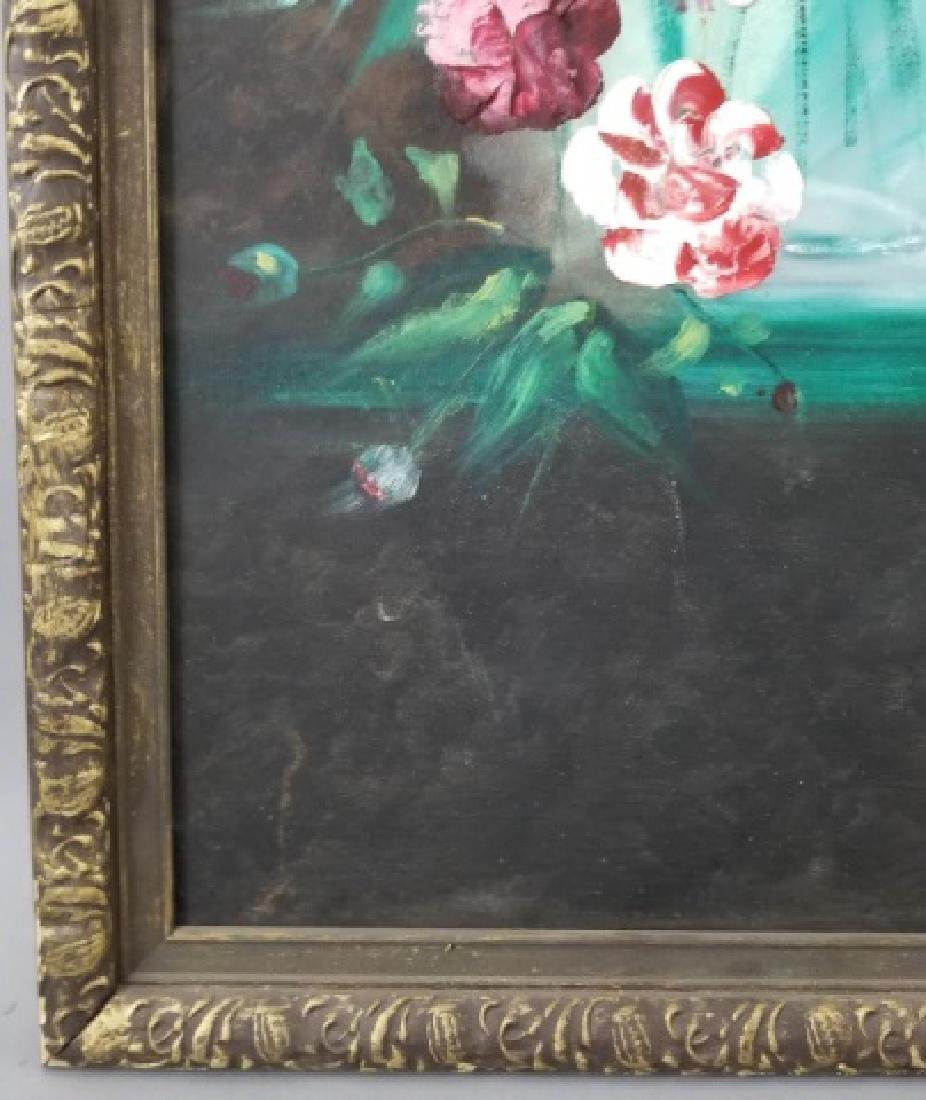 Signed Still Life of Flowers on Canvas, 1973 - 4