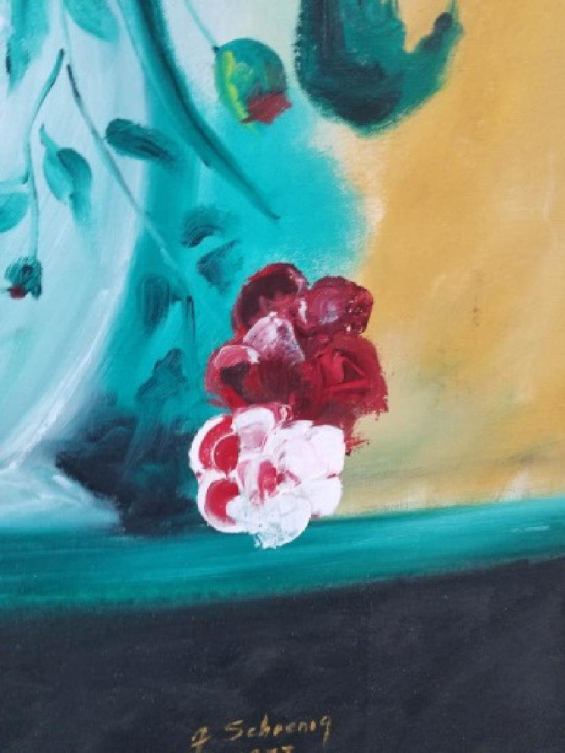 Signed Still Life of Flowers on Canvas, 1973 - 9