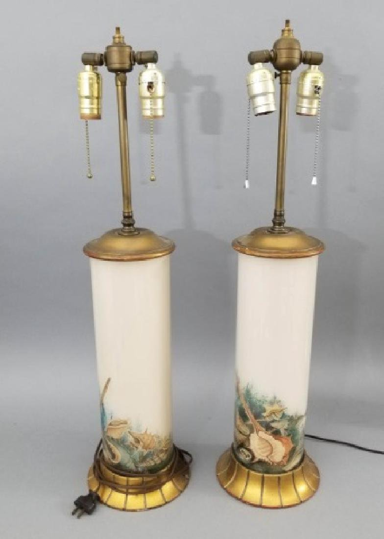 Pair of Ceramic Lamps, Curved Base-Seashell Design