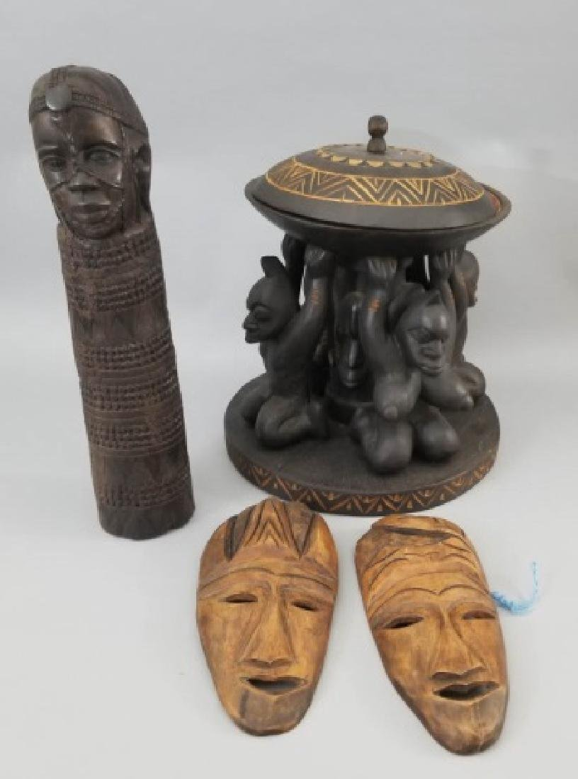 4 African Carved Pieces Including Fertility Symbol