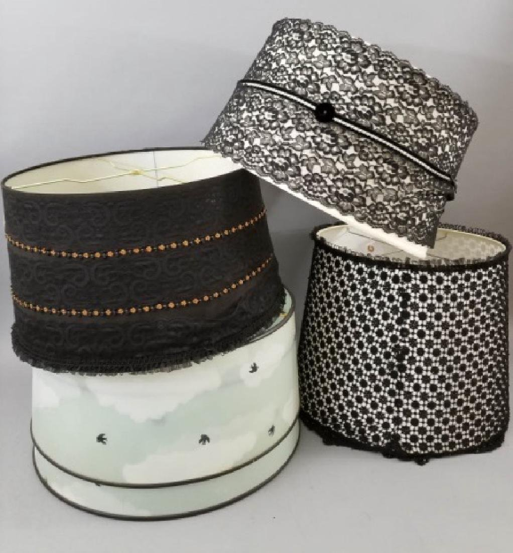 5 Vintage Lamp Shades, Including Black Lace