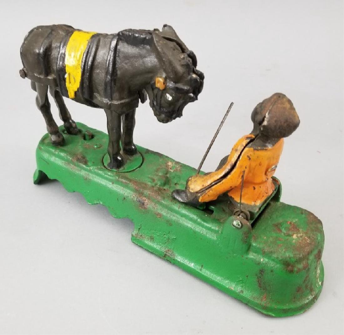 Older Painted Iron Mechanical Bank Bucking Horse - 5