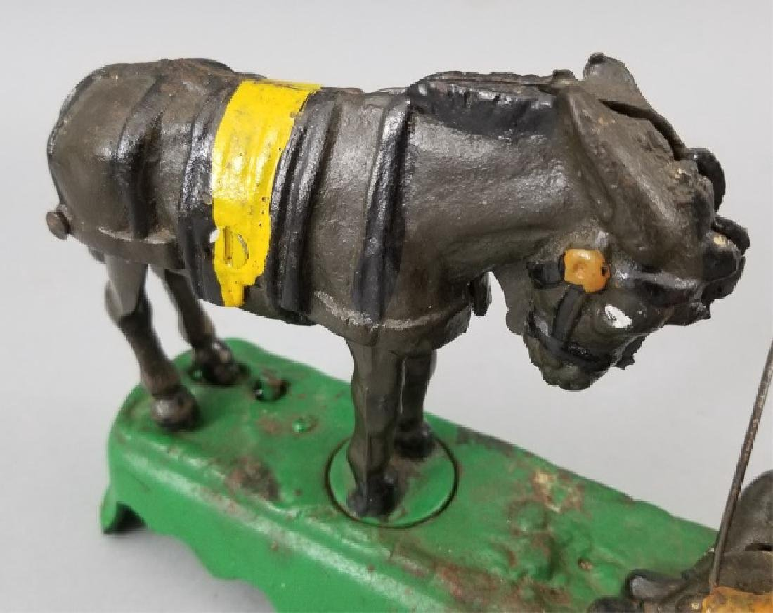 Older Painted Iron Mechanical Bank Bucking Horse - 6
