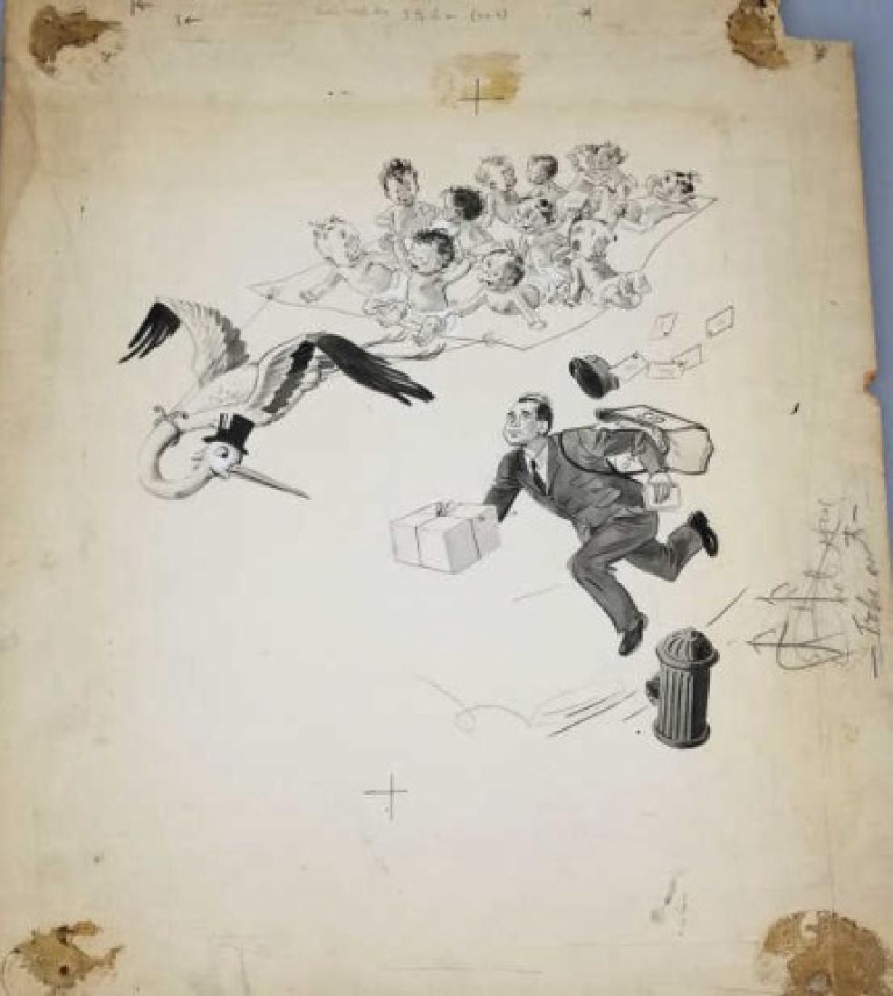 Grace Huntley Pugh Illustration of Babies & Stork