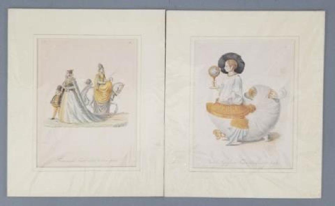 Pair 18thC Hand Colored Copperplate Engravings