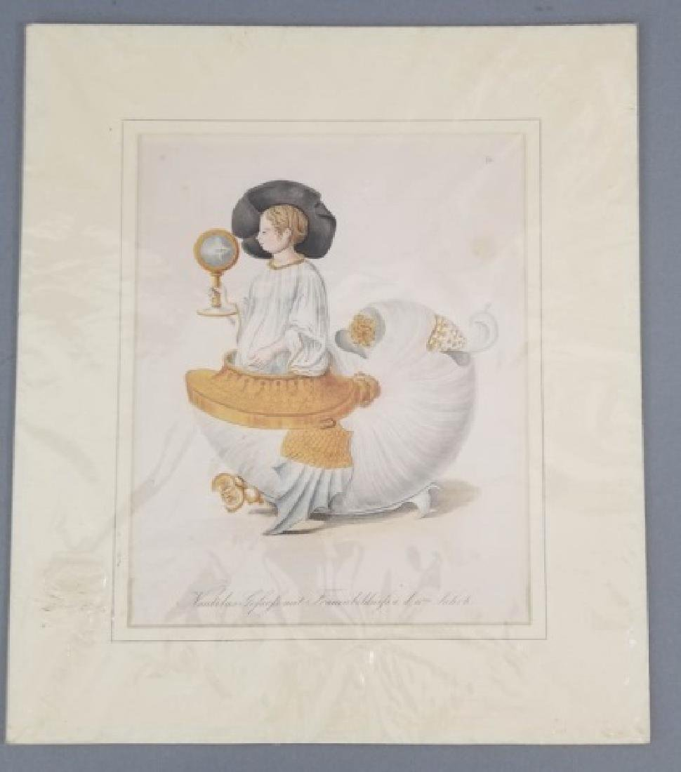 Pair 18thC Hand Colored Copperplate Engravings - 3