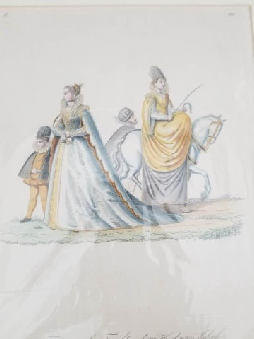 Pair 18thC Hand Colored Copperplate Engravings - 5