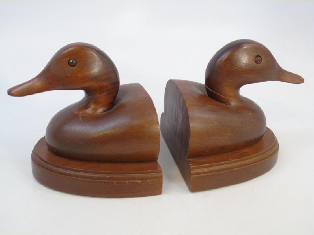 Pair Carved Wood Duck Bookends