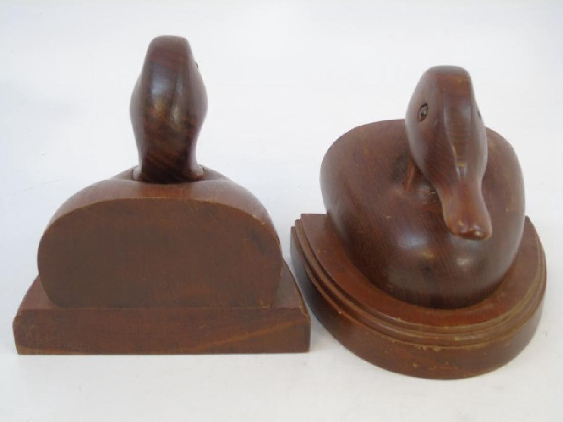 Pair Carved Wood Duck Bookends - 4