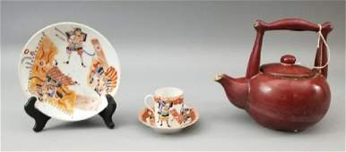 Chinese Square Handled Teapot & Porcelain Dishes
