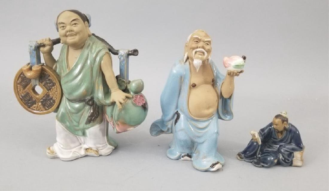 3 Chinese Clay Mudman Figurines All Signed