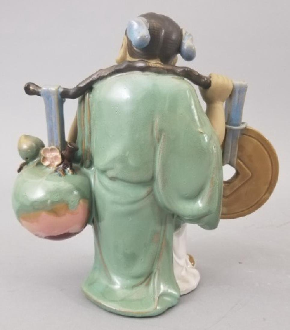 3 Chinese Clay Mudman Figurines All Signed - 5