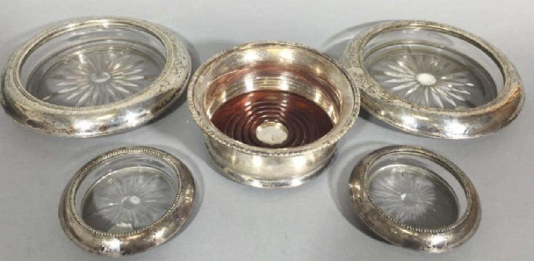 4 Sterling Silver & 1 Silver Plate Table Coasters
