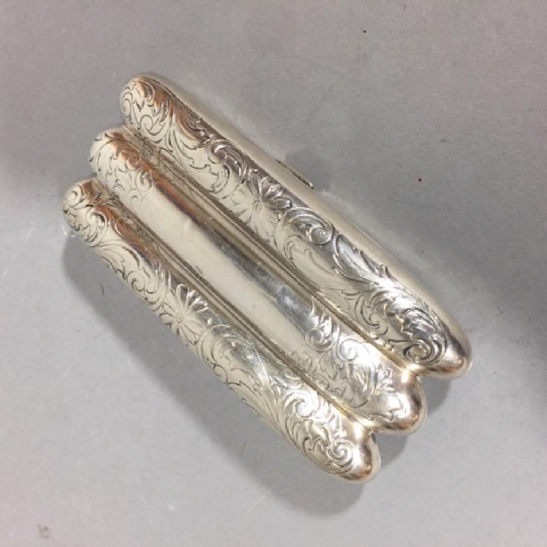Antique Sterling Silver & Gilt Wash Cigar Case - 3