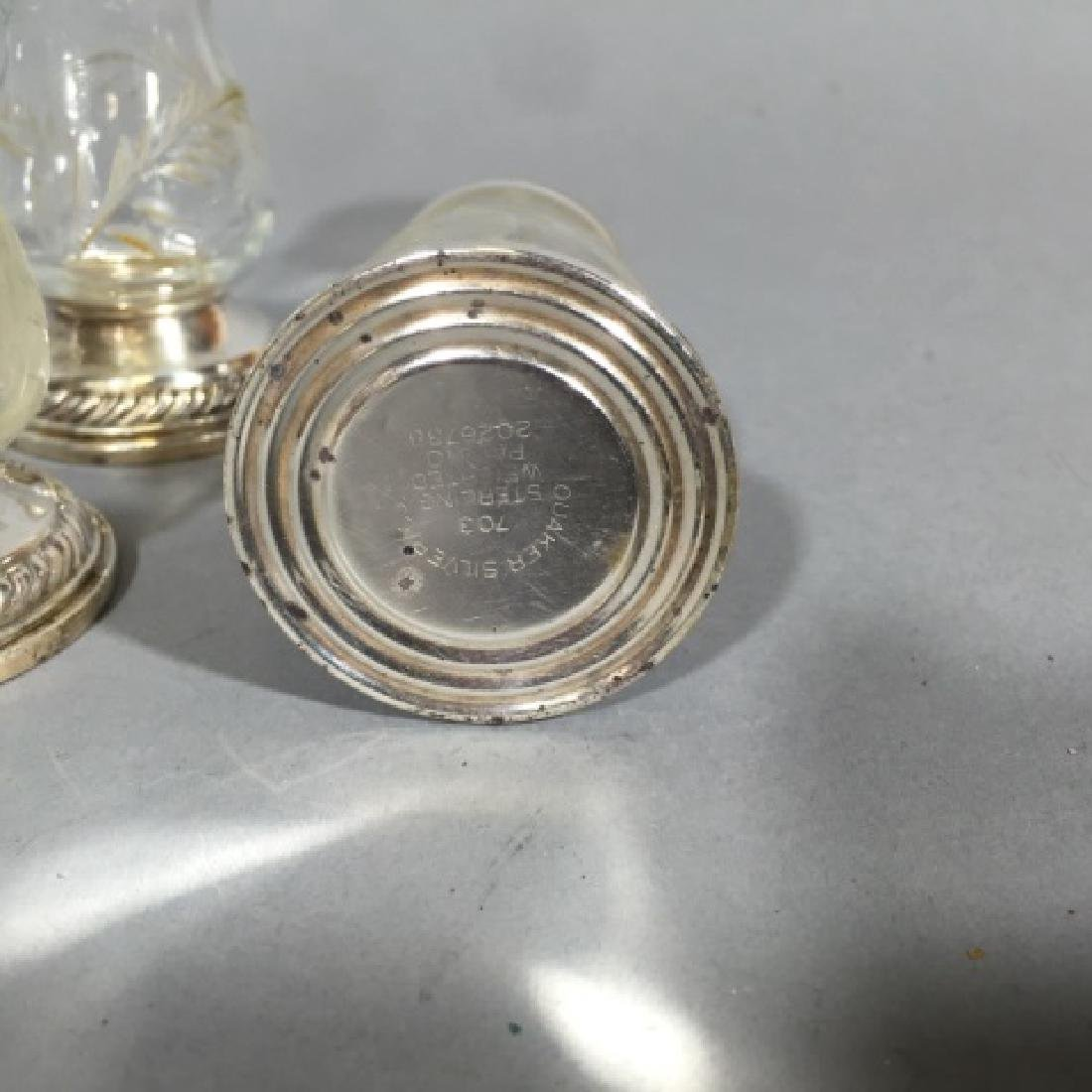 Four Sterling Silver & Glass Salt / Pepper Shakers - 4