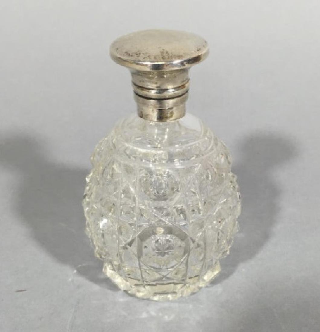 Antique English Crystal & Sterling Perfume Bottle