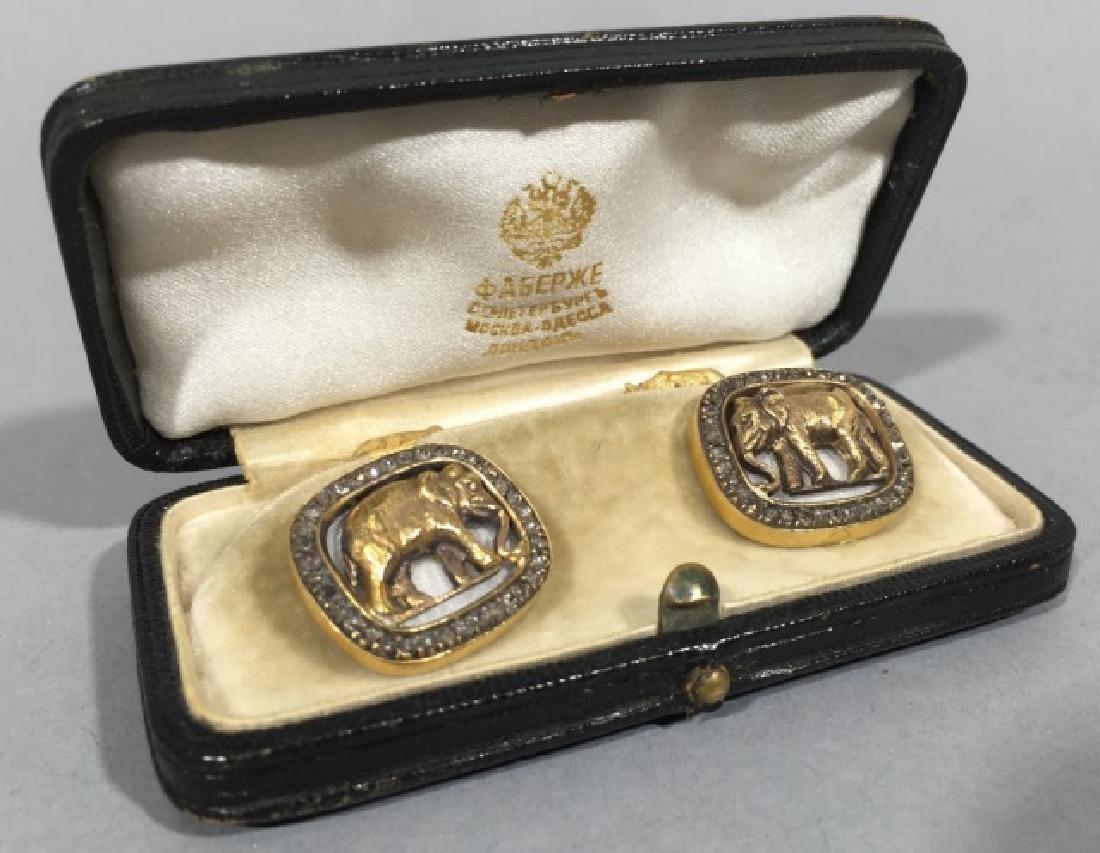 Russian 14k Gold Enamel & Diamond Bear Cufflinks