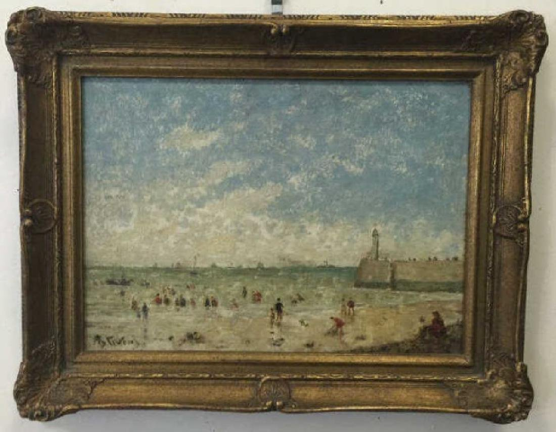Oil on Board of Le Havre Harbor by Alfred Stevens