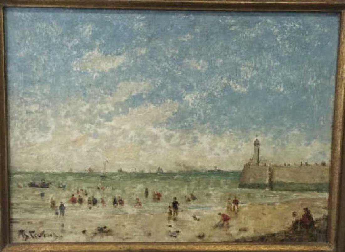 Oil on Board of Le Havre Harbor by Alfred Stevens - 2
