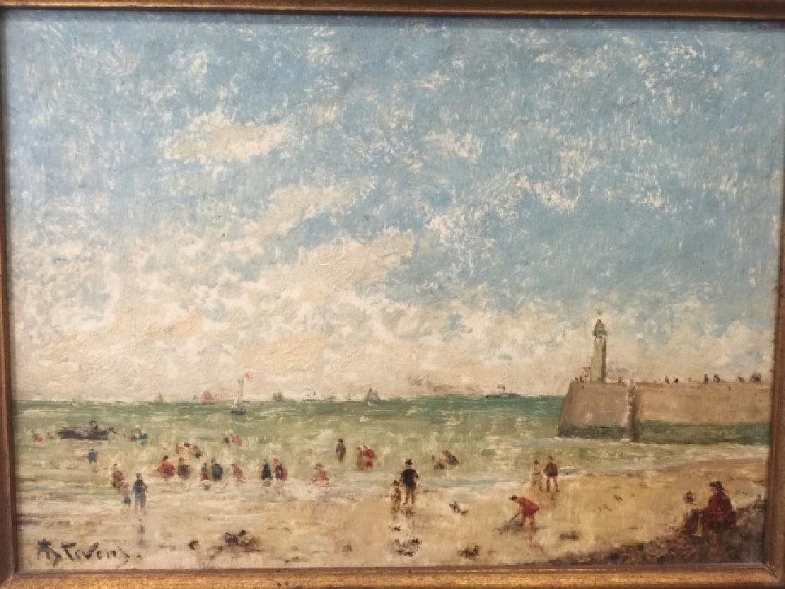 Oil on Board of Le Havre Harbor by Alfred Stevens - 3