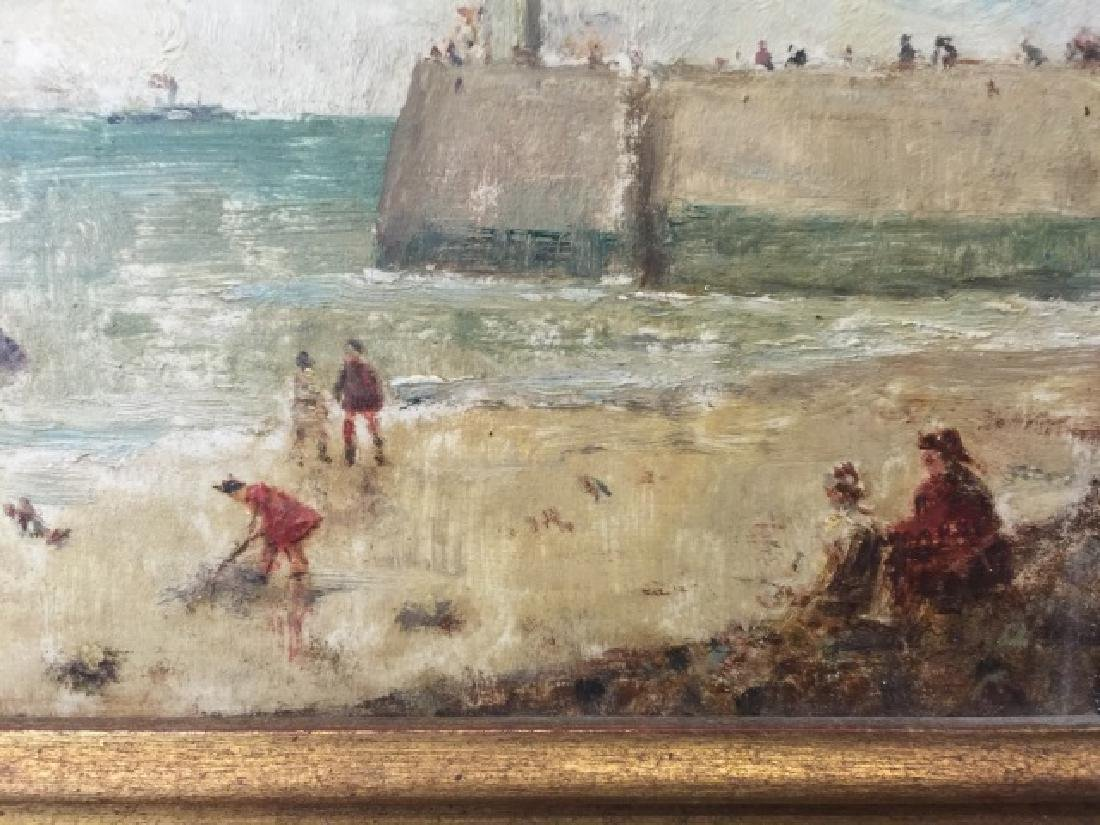 Oil on Board of Le Havre Harbor by Alfred Stevens - 4