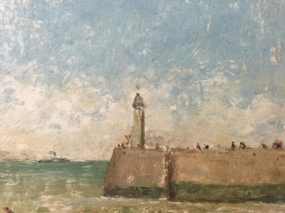 Oil on Board of Le Havre Harbor by Alfred Stevens - 5
