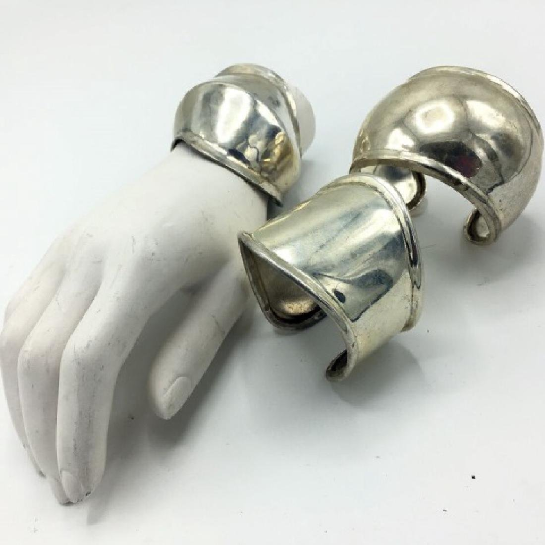 Costume Jewelry - Trio of Silver Cuff Bracelets - 2