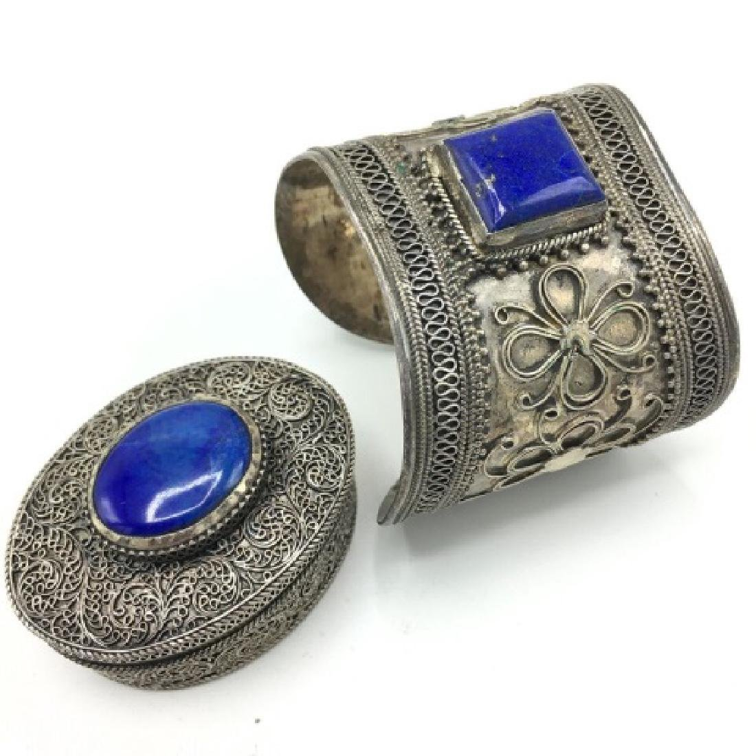 Vintage Silver Ethnic Cuff & Pill Box with Stones