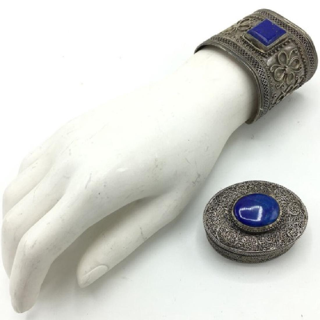 Vintage Silver Ethnic Cuff & Pill Box with Stones - 3