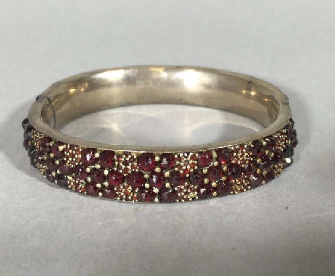Antique 19th C Rose Cut Garnet Bangle Bracelet