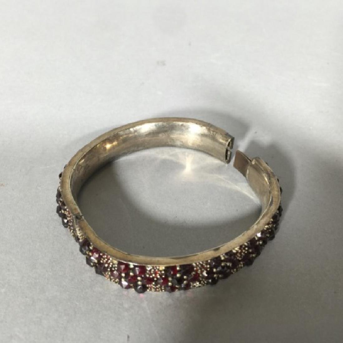 Antique 19th C Rose Cut Garnet Bangle Bracelet - 3
