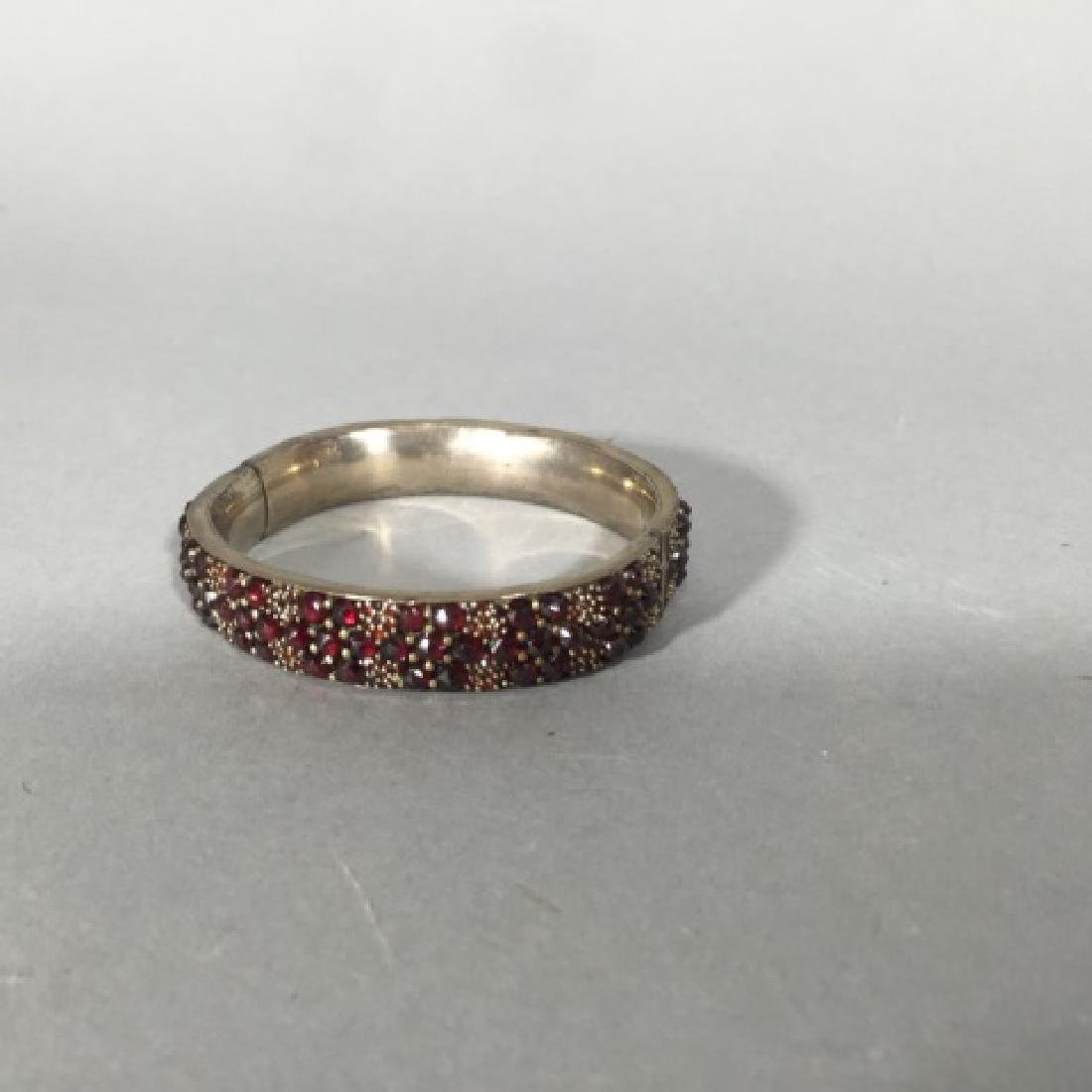 Antique 19th C Rose Cut Garnet Bangle Bracelet - 4