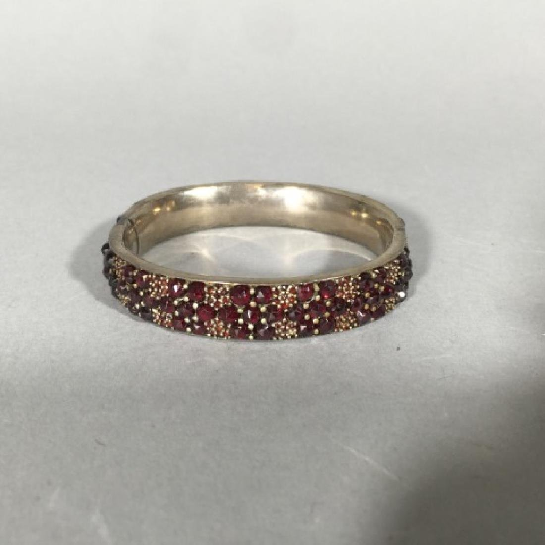 Antique 19th C Rose Cut Garnet Bangle Bracelet - 5