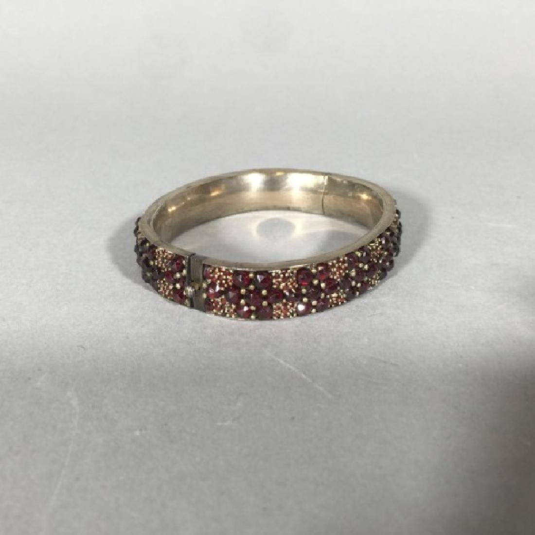 Antique 19th C Rose Cut Garnet Bangle Bracelet - 6