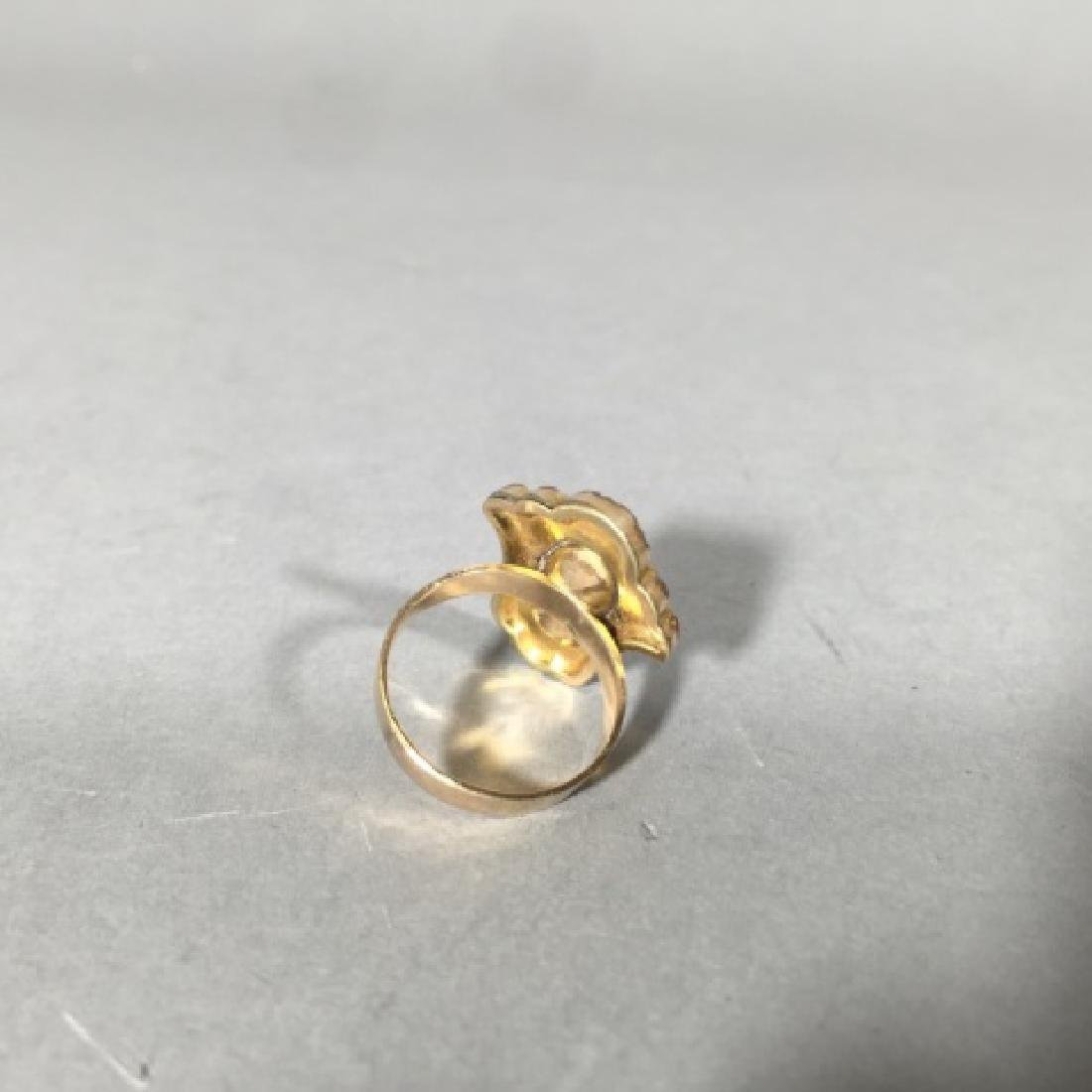 Antique 19th C Victorian Chased Yellow Gold Ring - 3