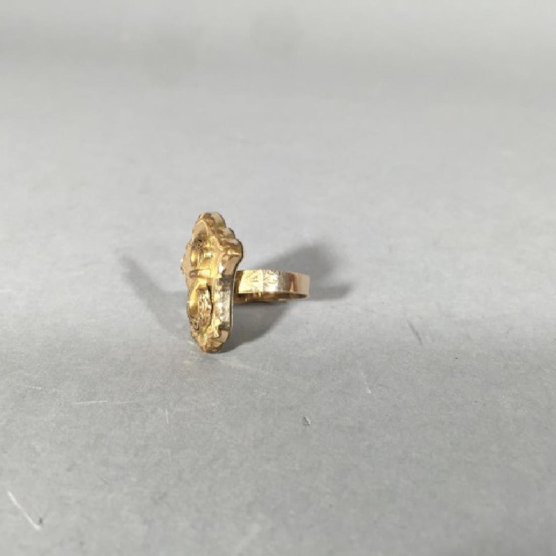 Antique 19th C Victorian Chased Yellow Gold Ring - 5