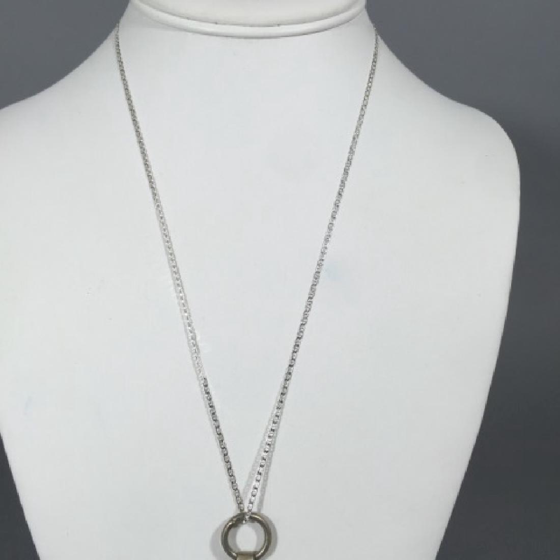Filigree & Enamel Pendant on Sterling Silver Chain - 4